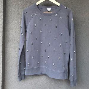 J. Crew XS Cement Gray Rhinestone Sweatshirt